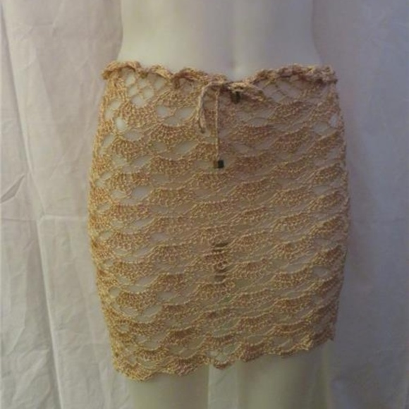 5f529d18e5a61 Bloomingdale's Swim | Bloomingdales Tan Crochet Coverup Skirt Size S ...